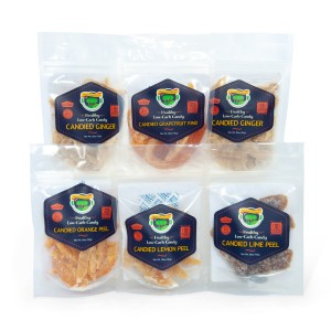 Low carb allulose candy - candied citrus and ginger variety pack