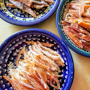 Low carb candied citrus rinds